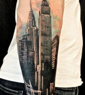 Black arm's architecture tattoo
