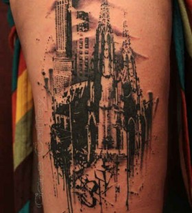 Black buildings architecture tattoo