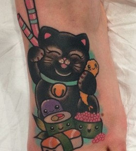 Black cat foot tattoo by Clare Hampshire