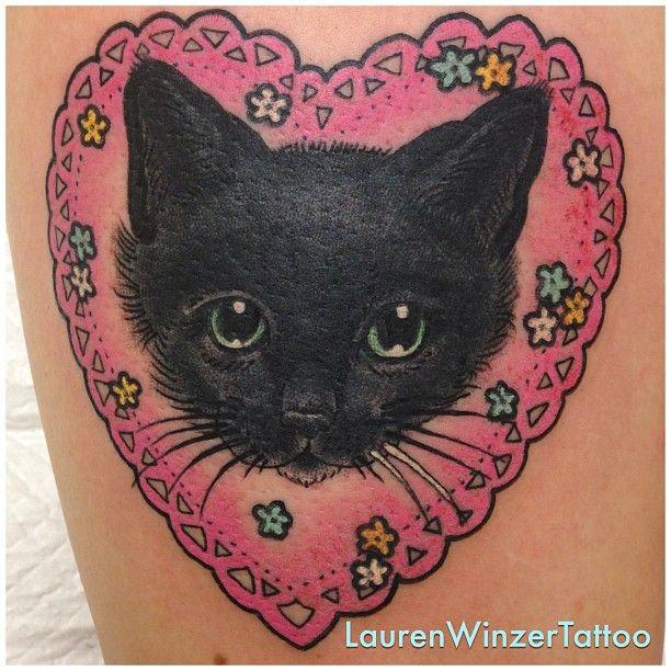 Black cat tattoo by lauren winzer