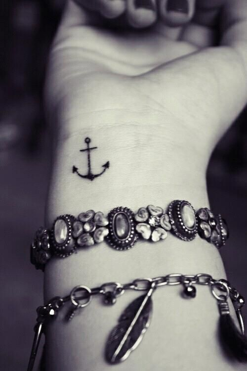 Black cool anchor tiny tattoo