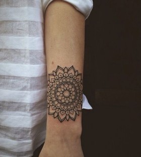 Black flower mandala tattoo
