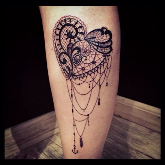 Black heart lace tattoo