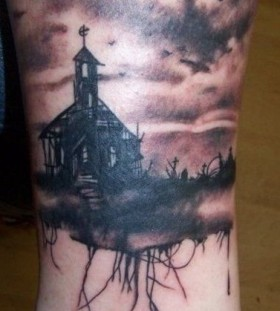 Black house scary tattoo