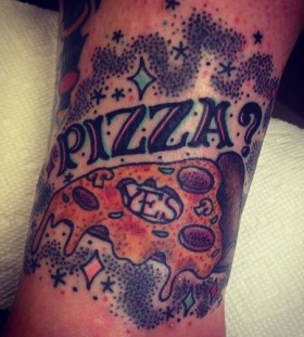 Black letters and pizza tattoo