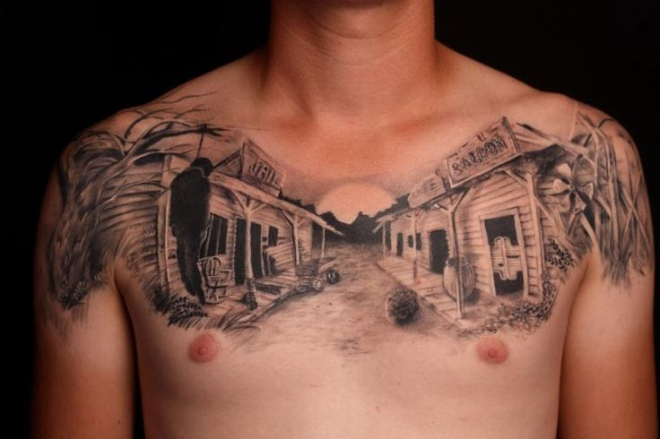 Black lovely town tattoo