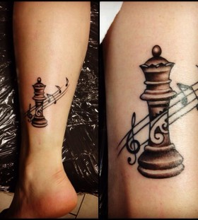 Black music chess tattoo