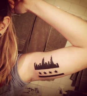 Black stars and town tattoo