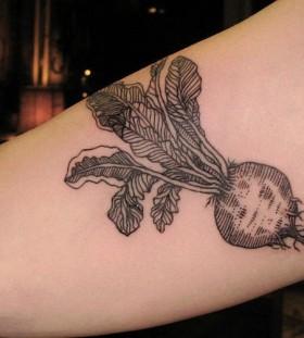 Black vegetable food tattoo