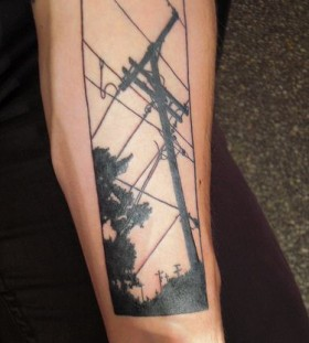 Black wires telephone tattoo