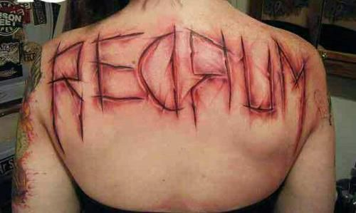 Blood red scary tattoo