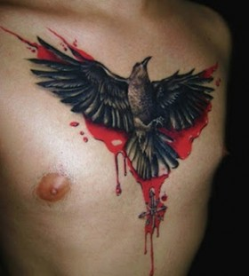 Bloody raven chest tattoo