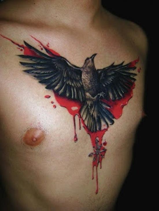 Bloody Raven Chest Tattoo Tattoomagz Tattoo Designs Ink