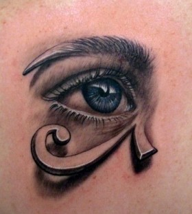 Blue adorable egyptian eye tattoo