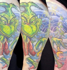 Blue and green grinch christmas tattoo