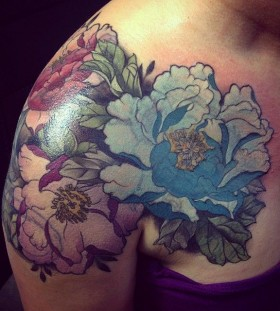 Blue and purple flowers tattoo by Alice Kendall