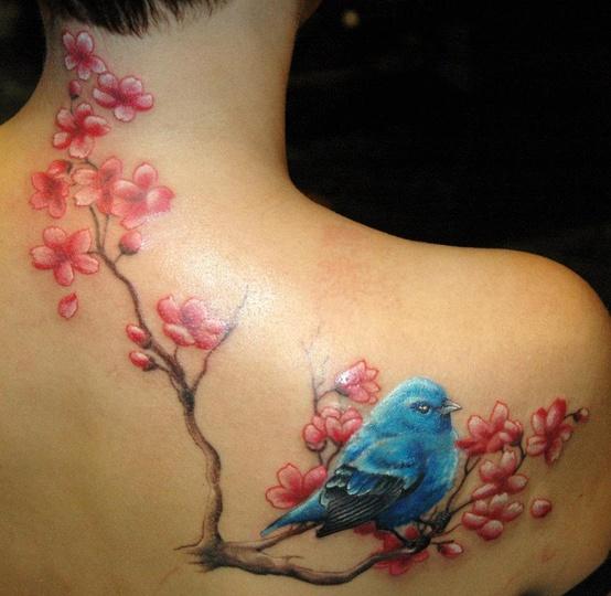 0250b6f68 Blue bird and cherry blossom branch tattoo - | TattooMagz › Tattoo ...