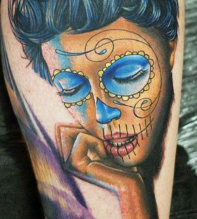 Blue eyes Santa Muerte tattoo