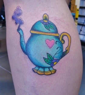 Blue teapot leg tattoo