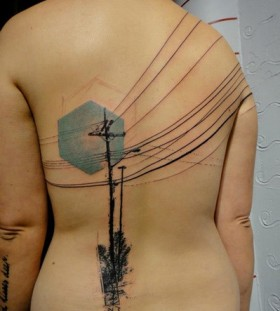 Blue wires telephone tattoo