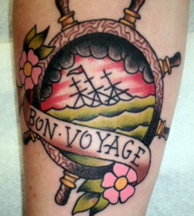 Bon voyage wheel tattoo