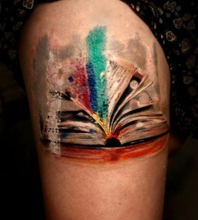 Book watercolour tattoo
