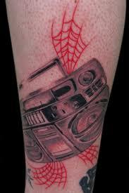 Boombox and web tattoo