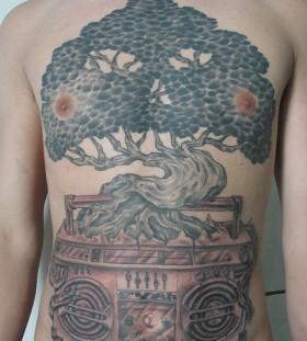 Boombox tree large tattoo