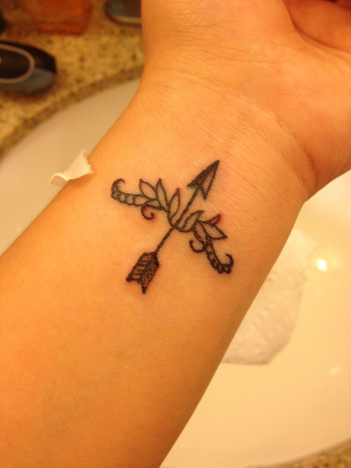 Bow and arrow wrist tattoo