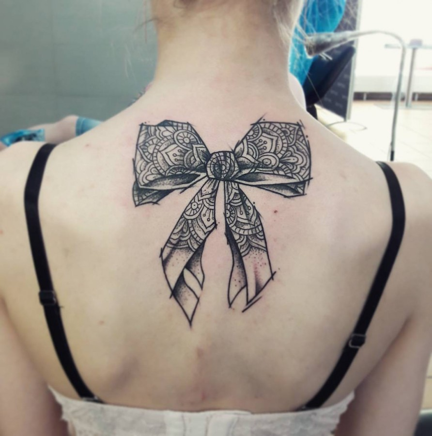 bow sketch tattoo by flound_so