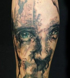 Brilliant face tattoo by Florian Karg