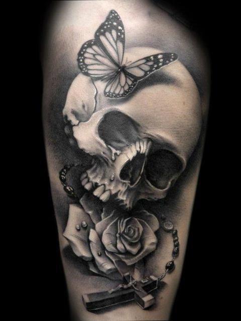Brilliant skull and flower tattoo