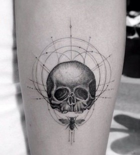 Brilliant skull tattoo by Dr Woo