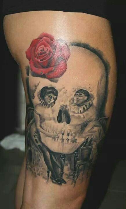Brilliant skull tattoo by Razvan Popescu