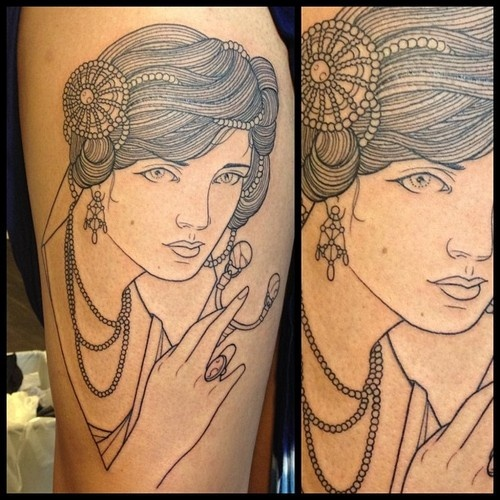 Brilliant tattoo of a woman