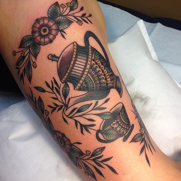 Brillieant teacup and teapot tattoo