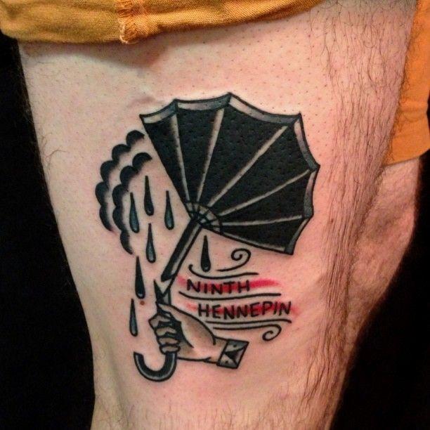 Broken umbrella leg tattoo by Nick Oaks