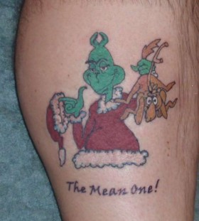 Brown dog grinch christmas tattoo