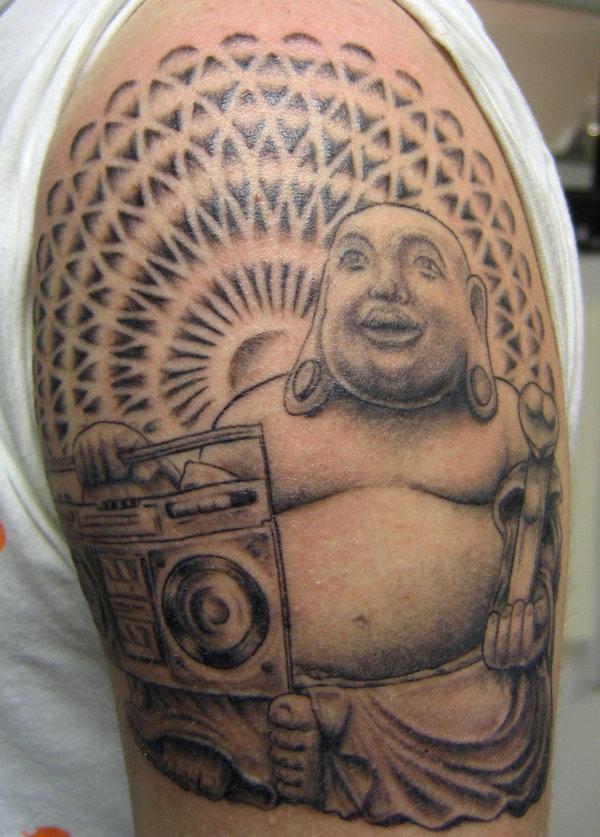 Buddha with a boombox tattoo
