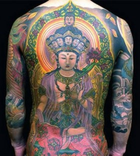Buddhist style  full back tattoo