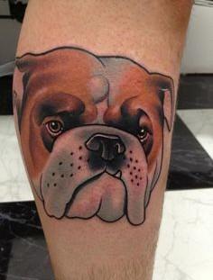Bulldog tattoo by Dan Molloy