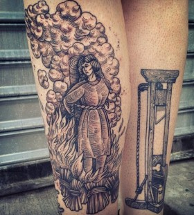 Burning woman tattoo by Rachel Hauer