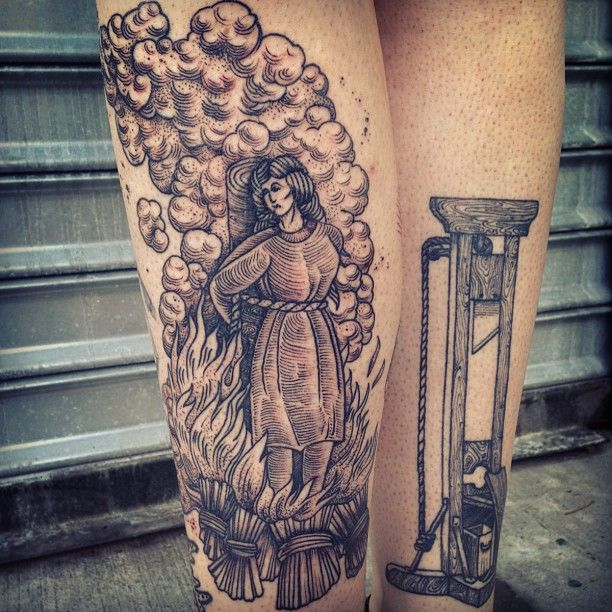 Burning woman tattoo by Rachel Hauer