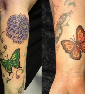 Butterfly and dahlia tattoo