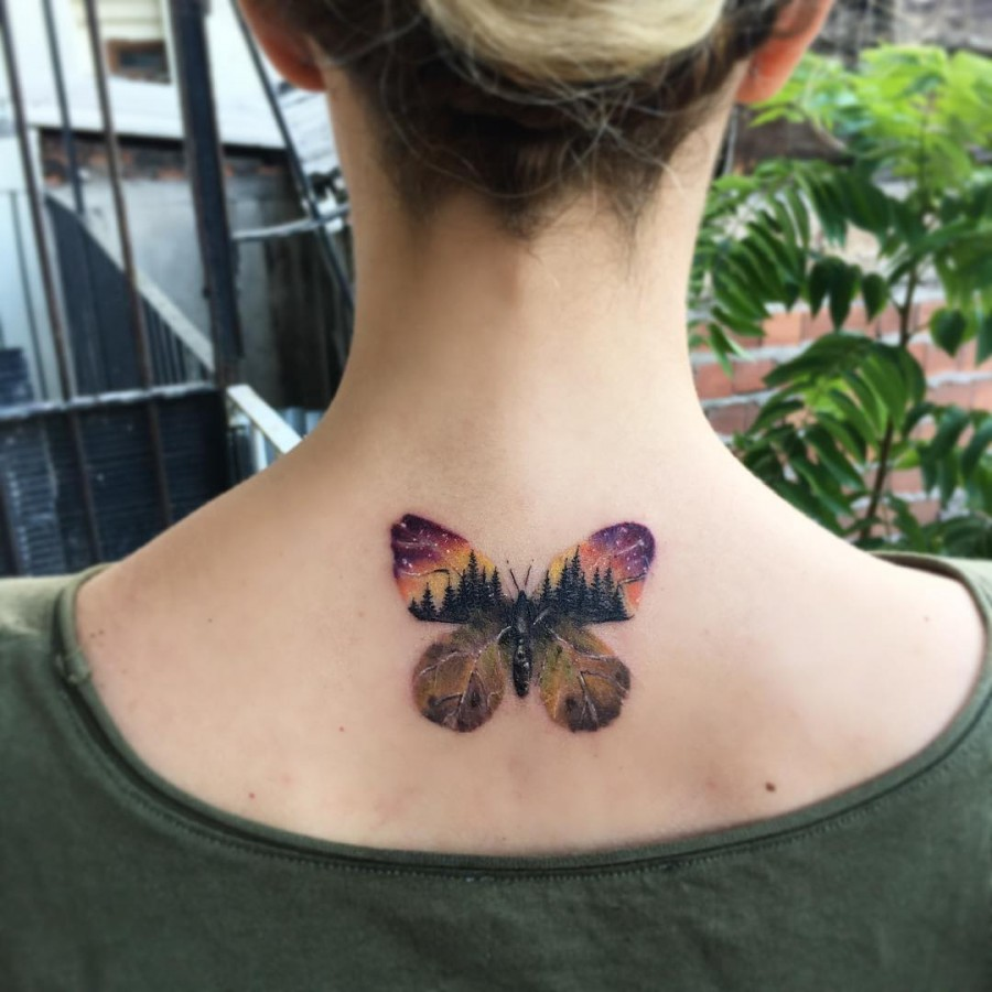 Abstract butterfly outline nature tattoo by evakrbdk.