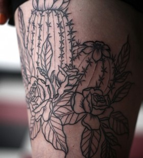 Cactus and rose leg tattoo