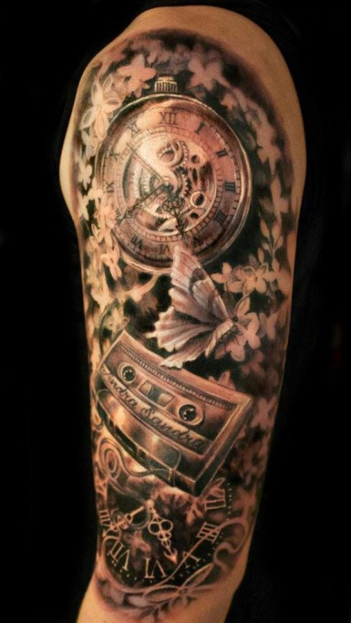 Casette and clock tattoo by Ellen Westholm