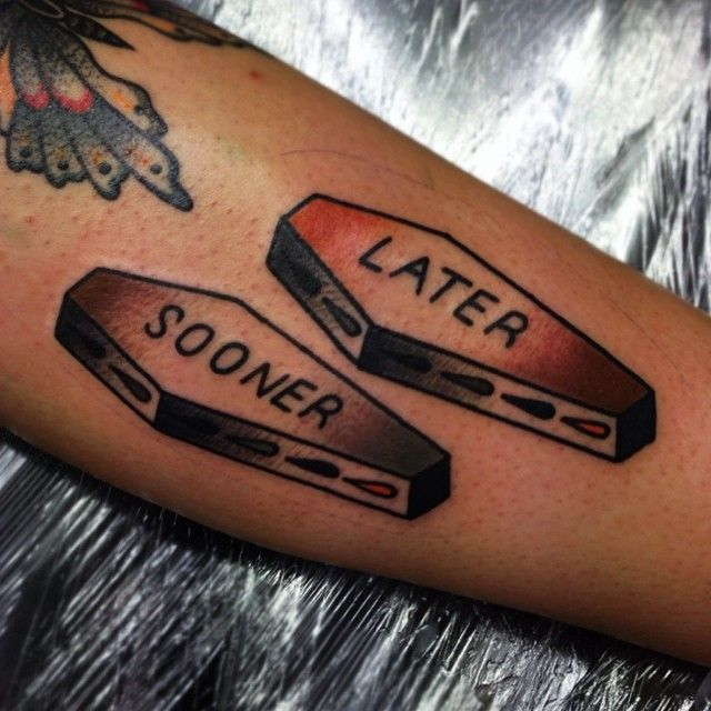Casket tattoo by Matt Cooley
