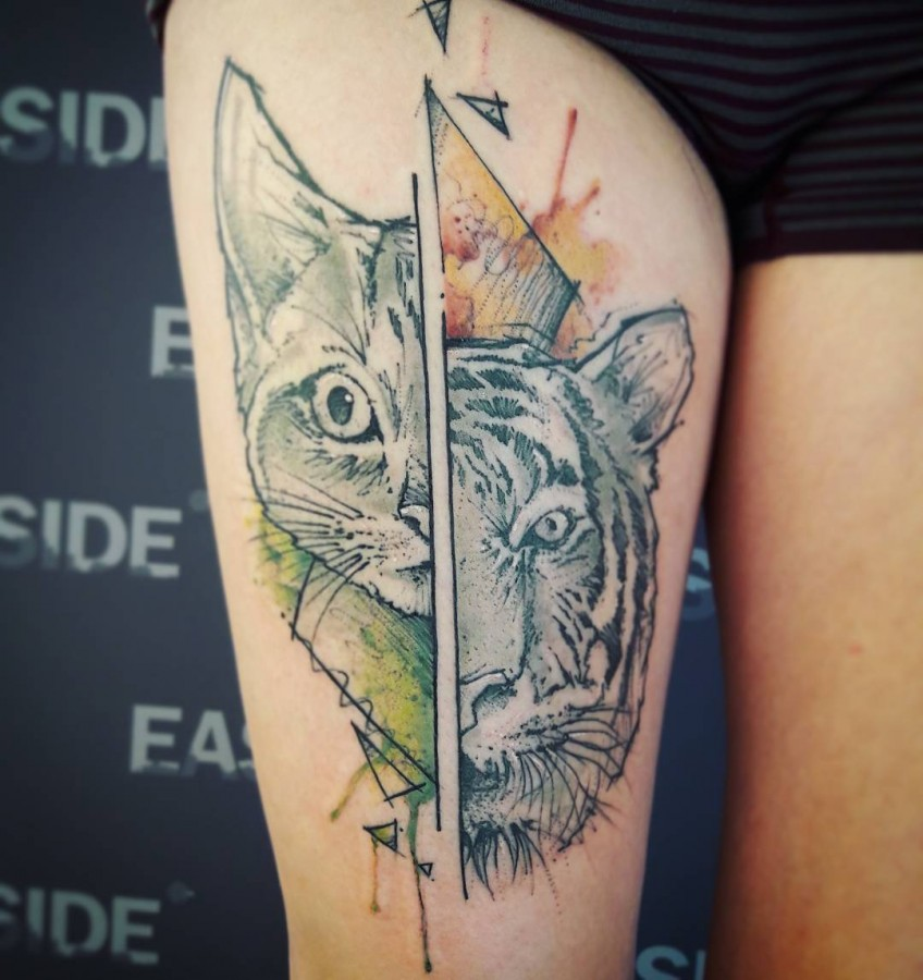 cat and tiger sketch style tattoo by flound_so