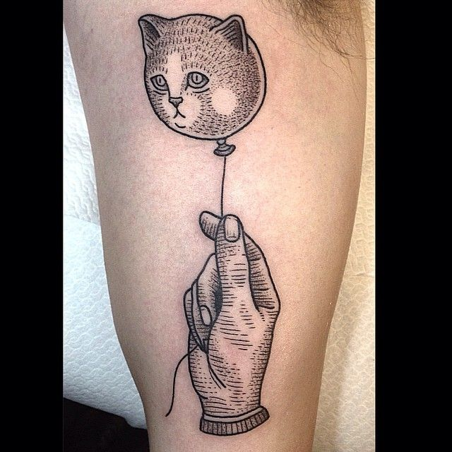 Cat balloon tattoo by Susanne König